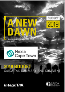 2019 Budget: SAICA tax summary and comment